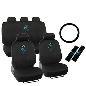 New Love Heart Blue Front Back Car Seat Covers Steering Wheel Cover Full Set
