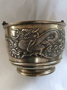 Antique Chinese Bronze Planter Pot Holder With Dragons And Swing Handle