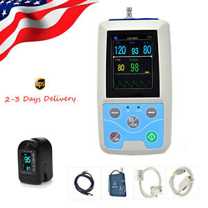 Big Color Lcd Ambulary Bp Monitoring Instrument Holter Abpm blood Pressure Cuff