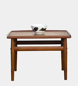 Grete Jalk Teak Square Coffee Table Or Side Table W Brass Accents Danish Mode