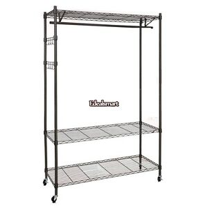 Single Rod Black gray Clothing Garment Rack Heavy Duty 3 Shelving Closet Es88