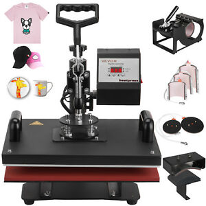 8in1 T shirt Heat Press Transfer Sublimation Swing Away Clamshell 15 x12 Great