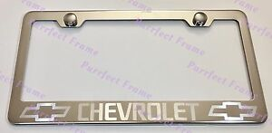 Chevrolet Chevy Stainless Steel License Plate Frame Rust Free W Bolt Caps