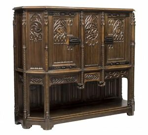 French Gothic Revival Carved Walnut Cabinet Sideboard 19th Century 1800s