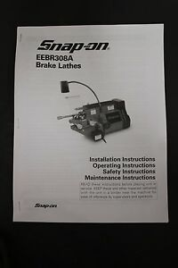 Snap On Eebr308a Disc Drum Brake Lathe Operating Manual