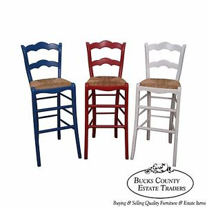 Quality Set Of 3 French Country Red White Blue Rush Seat Bar Stools
