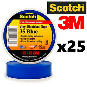 25 Pack 3m 3 4 X 66ft Scotch Vinyl Electrical Electricians Tape Roll 35 Blue Ul