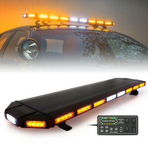 Xprite 48 Inch Rooftop Led Strobe Light Bar Flash Emergency Warning Amber White