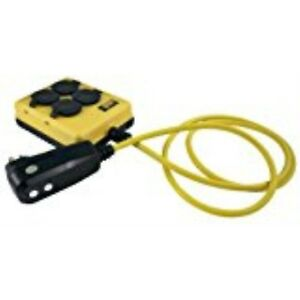 Yellow Jacket 2516 14 3 Gfci Protected 4 outlet Power box With 6 foot Cord Yello