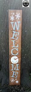 Large Primitive Wooden Holiday Welcome Snowman Winter Country Rustic Farm House