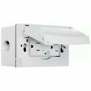 Hubbell bell 5874 6s Cover And Gfci Receptacle Weatherproof Box White