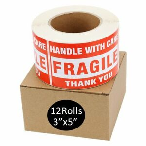 12 Roll 500 roll 3 X 5 Fragile Stickers Handle With Care Shipping Mailing Labels