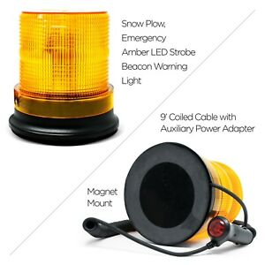 Snow Plow emergency Amber Led Strobe Beacon Warning Light Magnet Mount