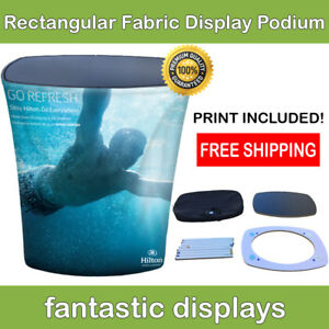 Trade Show Podium Promo Counter Rectangular Fabric Pop Up Display For Exhibit
