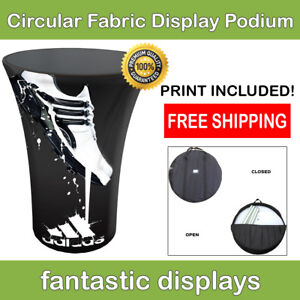 Trade Show Podium Promotion Counter Circular Fabric Pop Up Display For Exhibit