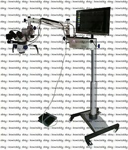 Surgical Microscope Dental Surgery 3 Steps pal Ccd Camera led Monitor silver
