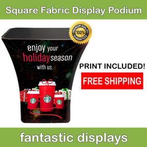 Trade Show Podium Promotion Counter Square Fabric Pop Up Display Exhibit Booth