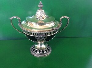 Gilded Antique English Sterling Silver Sauce Tureen Bowl And Ladle 1912
