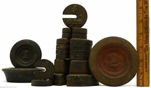Antique Mercantile Scale Apothecary Balance Weights Lot Of 15 Iron