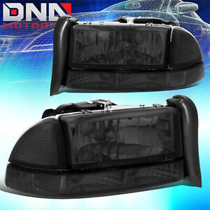 For Dodge 97 04 Dakota 98 03 Durango Euro Smoked Housing Clear signal Headlights
