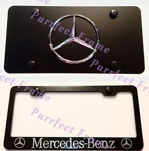 mercedes benz Stainless Black Front License Plate Frame Combo Rust Free