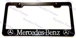 Mercedes Benz With Logo Black Stainless Steel License Plate Frame W Bolt Caps