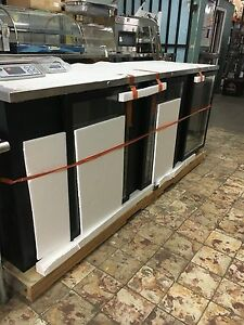 Asber 96 In Bar Back Cooler 3 Glass Door Refrigerated Stainless Top Beer Wine