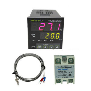 Digital Pid Temperature Controller 40 Solid Ssr Sensor 12v 24v Temp Heater Fan