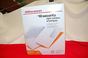 Box Of 500 Office Depot 10 Security Medical Claim Business Envelopes s6921