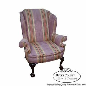 Kindel Winterthur Large Chippendale Ball Claw Foot Wing Chair
