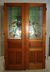 Pair Of Large Pitch Pine Stained Glass Doors 1864 Ns