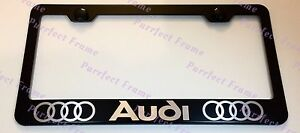 Audi Laser Style Black Stainless Steel License Plate Frame W Bolt Caps