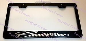 Cadillac Laser Style Black Stainless Steel License Plate Frame W Bolt Caps