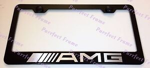 Mercedes Amg Laser Style Black Stainless Steel License Plate Frame W Bolt Cap