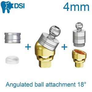 Dental Angulated Ball Attachment For Implant Abutment 18 4mm Height 2 Caps