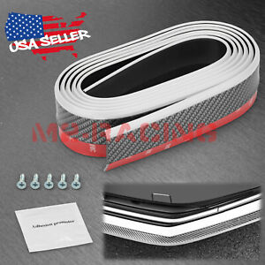 Universal White Black Rubber Front Bumper Lip Splitter Spoiler Chin Body Kit