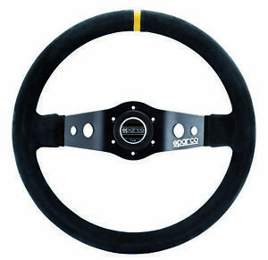 Sparco Competition R215 350mm Suede 2 Spoke Steering Wheel W Yellow Stripe