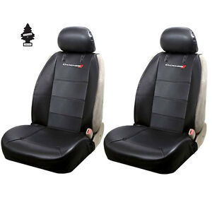 New Pair Of Black Vinyl Dodge Logo Car Truck Suv Front Sideless Seat Covers