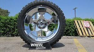 22 Chrome Offroad Wheels All Terrain Mud Tires 22x10 33 35 6x135 Ford F150