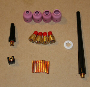 Tig Welding Gas Lense Cup Collet Kit For Wp9 20 25 Torch Bodies With Back Caps