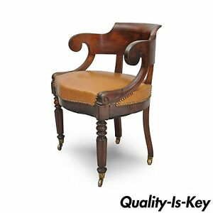 Antique English Empire Regency Mahogany Curved Caramel Leather Library Arm Chair