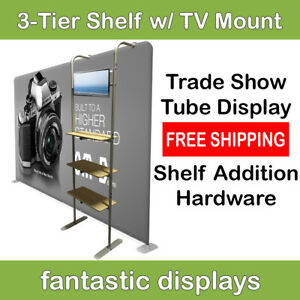Trade Show Standing Tube 3 Tier Shelf Display Attachment Tv Mount For Products