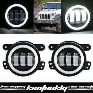 30w 4 Inch Led Fog Light W Halo Angel Eyes Lights For Jeep Wrangler Jk 07 15