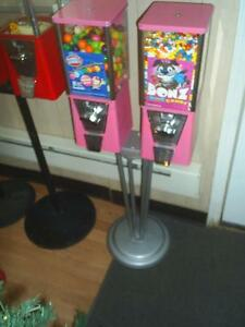 Two Used Oak Vista Gumball Machines With Stand Pink