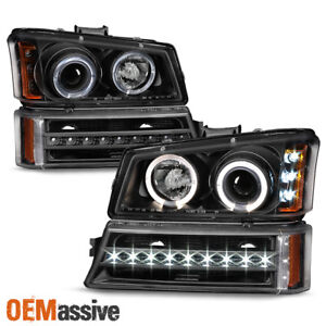 Fits 2003 2006 Chevy Silverado Black Led Halo Head Lights Drl Signal Lights