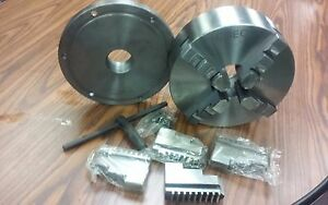10 4 jaw Self centering Lathe Chuck W 2 1 4 8 Adaptor Plate Extra Jaws