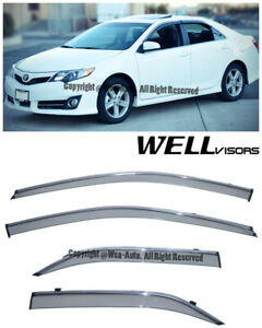 Wellvisors Side Window Visors Deflector W Chrome Trim For 12 14 Toyota Camry