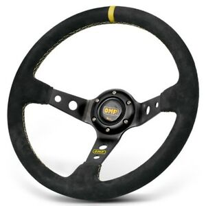 350mm Omp Corsica Genuine Suede Leather Deep Dished Racing Sport Steering Wheel