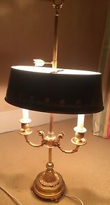 Empire Bronze Bouillotte Lamp Late 19th Early 20th Cent Adjustable Tole Shade