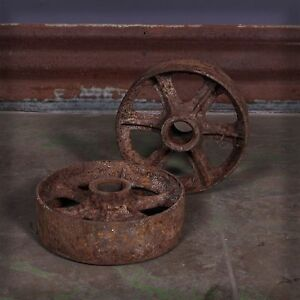 Vintage Industrial Pair Of Cast Iron Caster Wheels